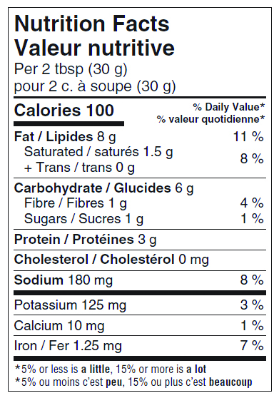 nutrition info for jalapeno cashew cheeze